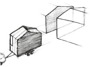 aVOID first conceptual sketch where it is highlighted the row characteristic of the mobile house. (Sketch by Leonardo Di Chiara)