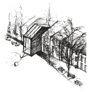 aVOID tiny house as part of a row-housing stystem. (Sketch by Leonardo Di Chiara)