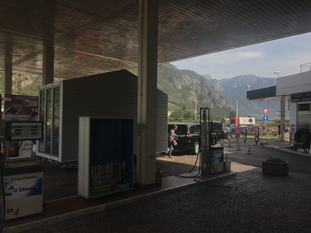 aVOID stops at a gas station just before heading out the Brennero pass on the Alps. (Brentino Belluno, 16th august 2017) © Leonardo Di Chiara